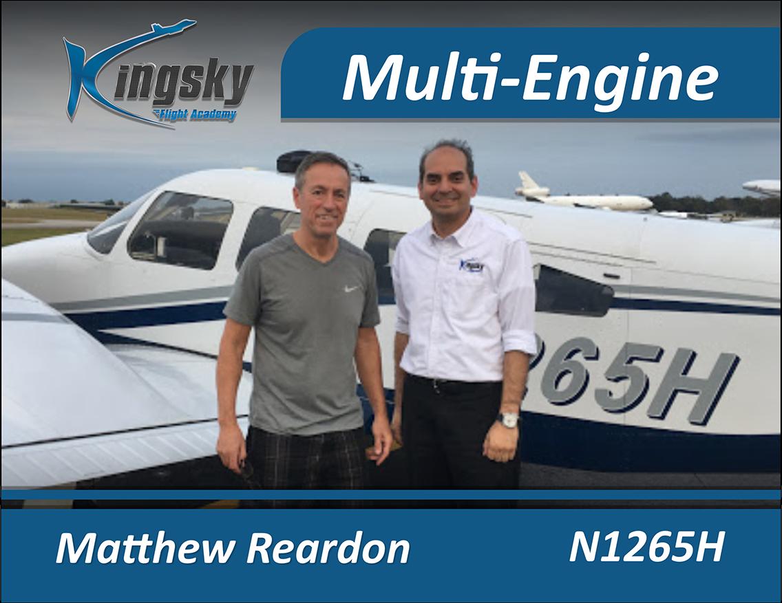 Multi Engine graduate Matthew Reardon